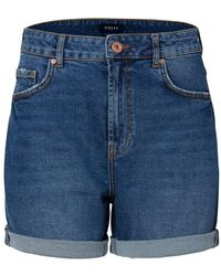 Pieces High-waist Denim Short Blauw