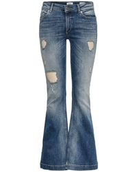 ONLY Jo Reg Destroyed Flared Jeans - Blauw