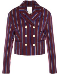 P O S T Y R Double-breasted Striped Blazer - Rood