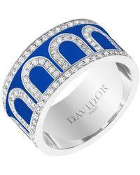 """Davidor 18k White Gold, Diamond & Riviera Lacquer Large """"l'arc"""" Band - Multicolor"""