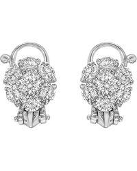 Van Cleef & Arpels Platinum & Diamond Flower Cluster Earclips - Metallic