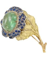 Buccellati 18k Gold, Emerald & Sapphire Flower Pin - Metallic