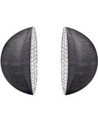 """Vhernier Jet & Diamond """"eclisse Medio"""" Earrings - Gray"""