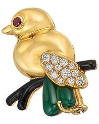 Cartier 18k Gold, Diamond & Chalcedony Small Bird Pin - Metallic