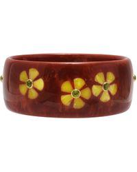 Mark Davis - Dark Reddish-orange & Yellow Flower Inlay Bakelite Bangle With Peridot - Lyst