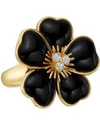 """Van Cleef & Arpels - Black Onyx & Diamond """"rose De Noel"""" Ring - Lyst"""