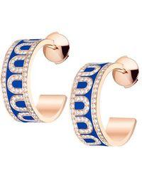 """Davidor 18k Rose Gold, Diamond & Riviera Lacquer """"l'arc"""" Hoops - Multicolor"""