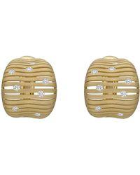 """Paolo Costagli - Brushed 18k Yellow Gold & Diamond """"flutti"""" Half-hoop Earrings - Lyst"""