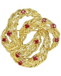 Tiffany & Co. - 18k Yellow Gold & Ruby Wreath Pin - Lyst