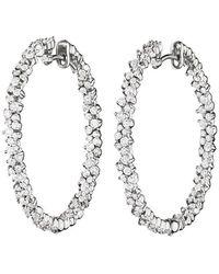 "Paul Morelli Medium 18k White Gold & Diamond ""confetti"" Hoop Earrings - Multicolor"