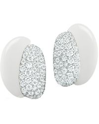 "Seaman Schepps White Ceramic & Pavé Diamond ""silhouette"" Earrings"