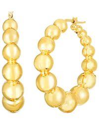 "Roberto Coin - Large 18k Yellow Gold ""oro"" Beaded Hoop Earrings - Lyst"