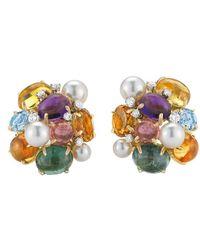 """Seaman Schepps Multicolored Gemstone & Pearl """"bubble"""" Earrings"""