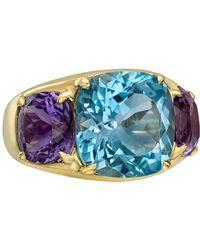 Seaman Schepps Blue Topaz & Amethyst Three-stone Ring