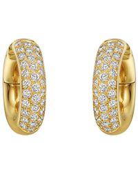 Cartier - Small 18k Yellow Gold & Diamond Hoop Earrings - Lyst