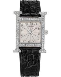 Hermès Heure 'h' White Gold Diamonds - Multicolor