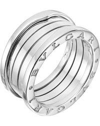 """BVLGARI - 18k White Gold """"b.zero1"""" 3-band Ring - Lyst"""