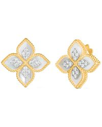 "Roberto Coin - Mother-of-pearl & Diamond ""princess Flower"" Stud Earrings - Lyst"