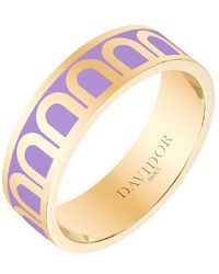 "Davidor Medium 18k Yellow Gold & Lavender Lacquer ""l'arc"" Band Ring"