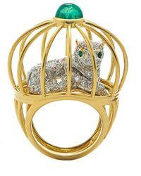 "David Webb Diamond & Emerald ""cage"" Ring - Metallic"