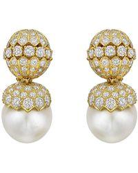 Van Cleef & Arpels South Sea Pearl & Diamond Drop Earclips - Metallic