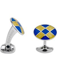 Deakin & Francis Silver Royal Blue & Yellow Enamel Harlequin Cufflinks