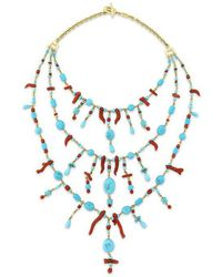 Paul Morelli - Turquoise & Red Coral Bib Necklace - Lyst