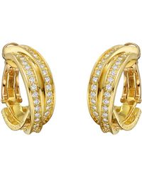 """Cartier - 18k Yellow Gold & Diamond """"trinity"""" Hoop Earrings - Lyst"""