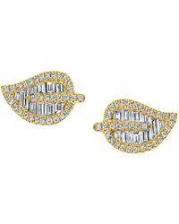 Anita Ko 18k Yellow Gold & Diamond Leaf Stud Earrings