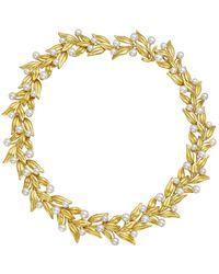 Tiffany & Co. 18k Yellow Gold & Pearl Leaf Collar Necklace - Metallic