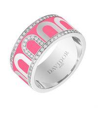 "Davidor 18k White Gold, Diamond & May Rose Lacquer ""l'arc"" Wide Band - Multicolor"