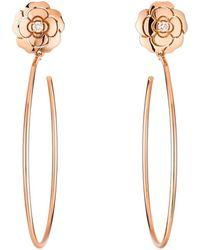 Chanel 18k Rose Gold & Diamond Extrait De Camélia Hoop Earrings - Metallic
