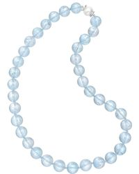 Seaman Schepps - Blue Topaz Bead Necklace With Pearl Clasp - Lyst