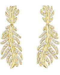 """Mimi So - 18k Yellow Gold & Diamond """"phoenix"""" Feather Drop Earrings - Lyst"""