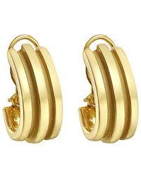 Tiffany & Co. - 18k Yellow Gold Ribbed Half-hoop Earclips - Lyst