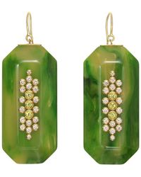 Mark Davis - Green Bakelite, Diamond & Peridot Pendant Earrings - Lyst