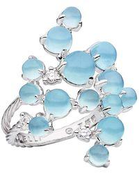 "Paul Morelli Aquamarine & Diamond ""bubble"" Cluster Ring - Blue"