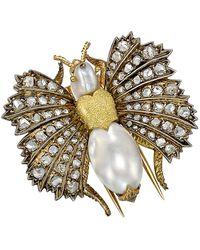 Buccellati 18k Gold, Diamond & Pearl Moth Clip Brooch - Metallic