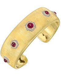 Buccellati 18k Yellow Gold & Ruby Cuff Bracelet