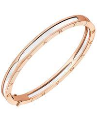 "BVLGARI - 18k Pink Gold & White Ceramic ""bzero1"" Bracelet - Lyst"