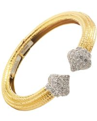 "David Webb Hammered 18k Gold & Diamond ""sugar Cap"" Cuff - Metallic"