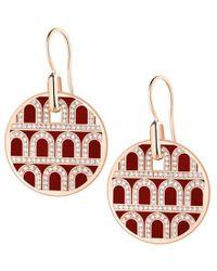 "Davidor 18k Rose Gold, Diamond & Bordeaux Lacquer ""l'arc"" Earrings - Multicolor"
