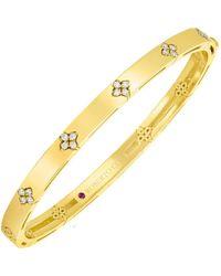 "Roberto Coin 18k Yellow Gold & Diamond ""love In Verona"" Bangle Bracelet - Metallic"