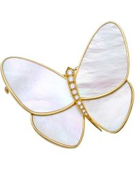 Van Cleef & Arpels Mother-of-pearl & Diamond Papillon Clip Pin - Multicolor