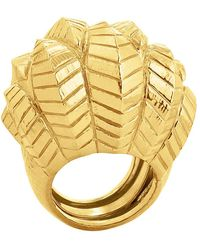 """David Webb Large 18k Gold """"banana Leaf"""" Cocktail Ring - Metallic"""
