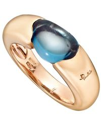 "Pomellato - 18k Pink Gold & Blue Topaz ""sassi"" Ring - Lyst"