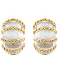 "Seaman Schepps 18k Gold & Rock Crystal ""shrimp"" Earrings - Metallic"