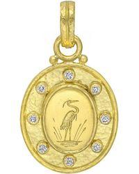 Elizabeth Locke - 19k Yellow Gold & Diamond Crane Pendant - Lyst