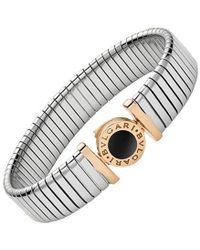 "BVLGARI - Steel, Pink Gold & Onyx ""tubogas"" Bracelet - Lyst"
