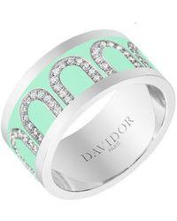 "Davidor Large 18k White Gold, Diamond & Mint Green Lacquer ""l'arc"" Band"